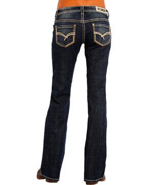 Rock & Roll Cowgirl Women's Sharp Multi-Stitch Boyfriend Jeans - Boot Cut , Indigo, hi-res