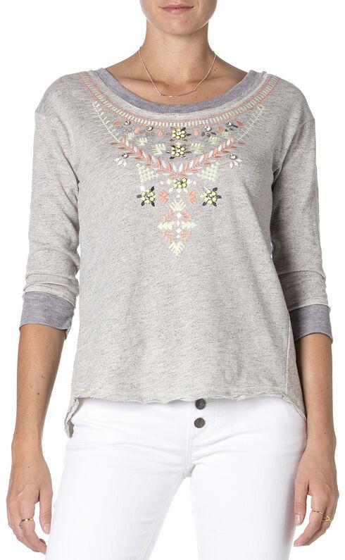 Miss Me Embroidered Grey 3/4 Sleeve Top , Hthr Grey, hi-res