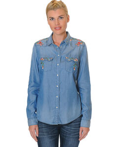 Grace in LA Women's Long Sleeve Denim Shirt with Floral Embroidery, Medium Blue, hi-res