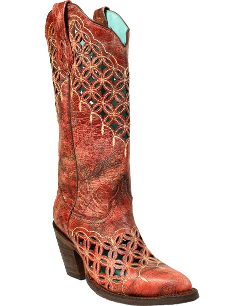 Corral Women's Red Cutout and Embroidered Boots - Medium Toe , Red, hi-res