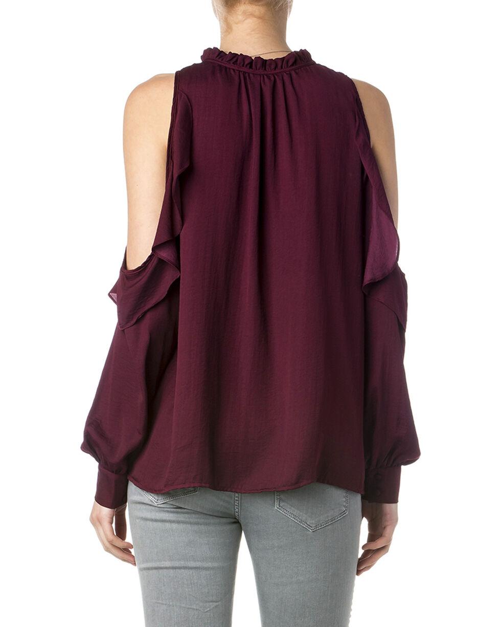 Miss Me Women's Burgundy Cold Shoulder Ruffle Blouse , Burgundy, hi-res