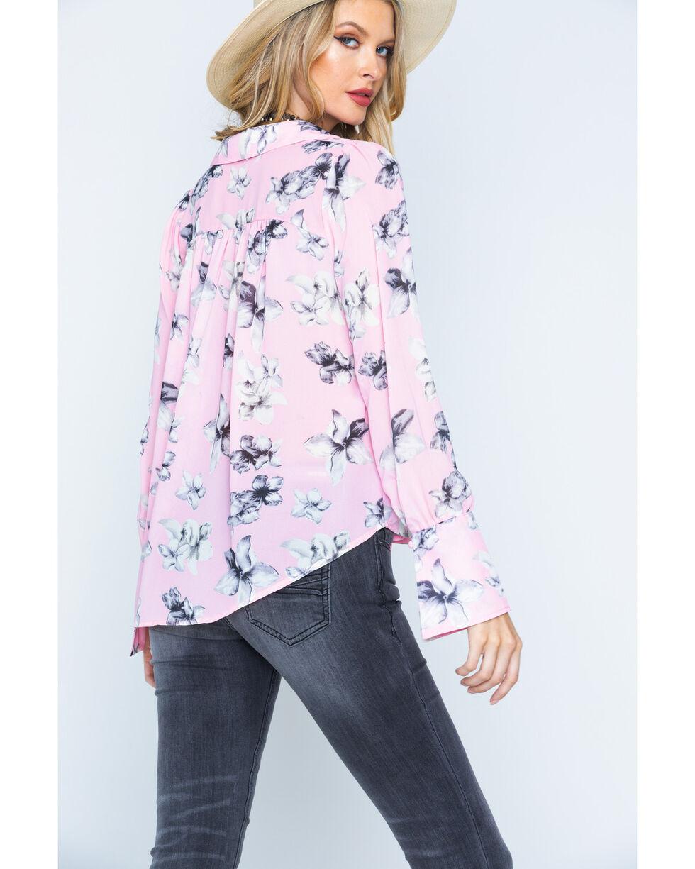 Polagram Women's Floral Print Tie Neck Top, Pink, hi-res