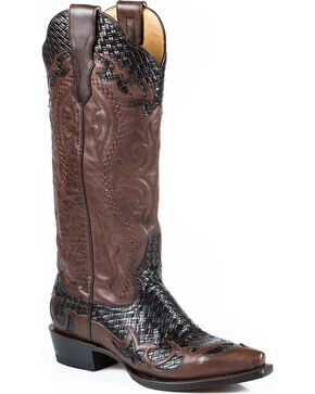 Stetson Women's Bailey Brown Basketweave Western Boots - Snip Toe, Brown, hi-res
