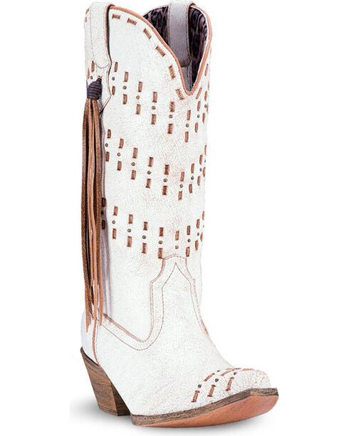 Laredo Women's Meredith Fringe Accented Western Boots - Snip Toe, White, hi-res