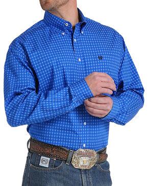 Cinch Men's Royal Blue Plain Weave Print Long Sleeve Button Down Shirt, Royal Blue, hi-res