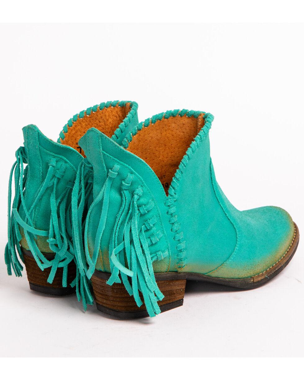 Circle G Fringe Short Boots - Round Toe, Turquoise, hi-res