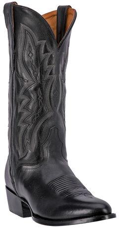 El Dorado Black Vanquished Calf Cowboy Boots - Round Toe, , hi-res