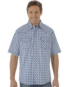 Wrangler 20X Men's Blue & White Plaid Two Pocket Short Sleeve Shirt , , hi-res