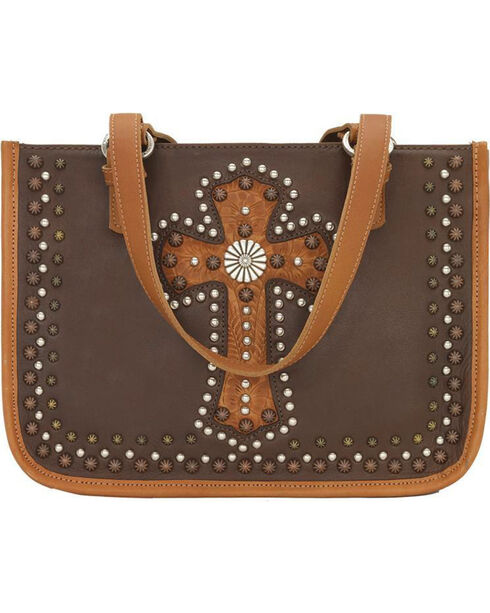 American West Women's Chestnut Leather Zip Top Tote , Chestnut, hi-res