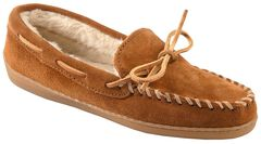 Minnetonka Women's Pile Lined Hardsole Moccasins - Wide, Brown, hi-res