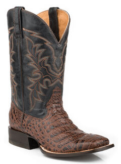 Roper Faux Caiman Belly Cowboy Boots - Square Toe, Dark Brown, hi-res