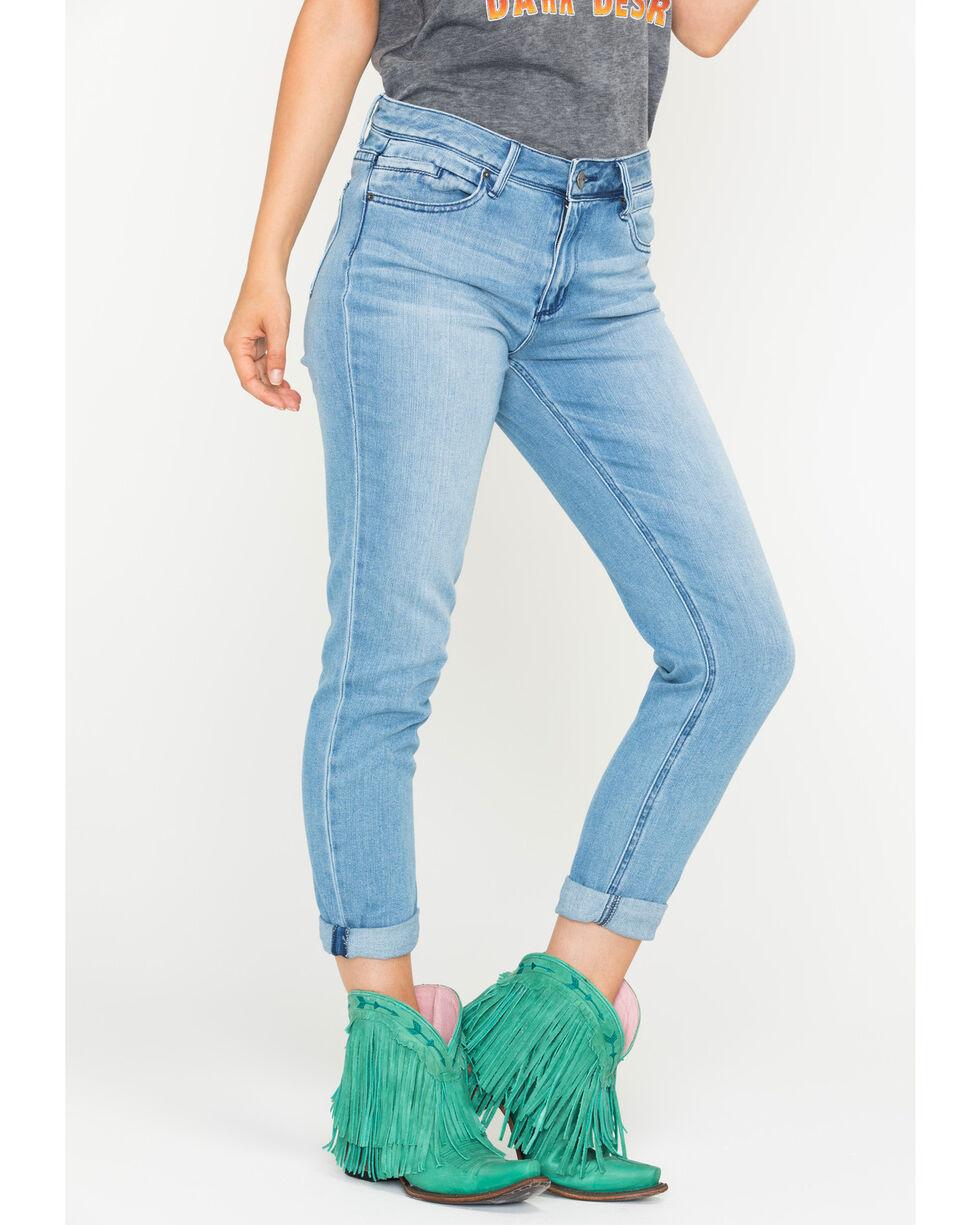 Tractr Blu Women's Girlfriend Denim Tapered Slim Jeans , Indigo, hi-res
