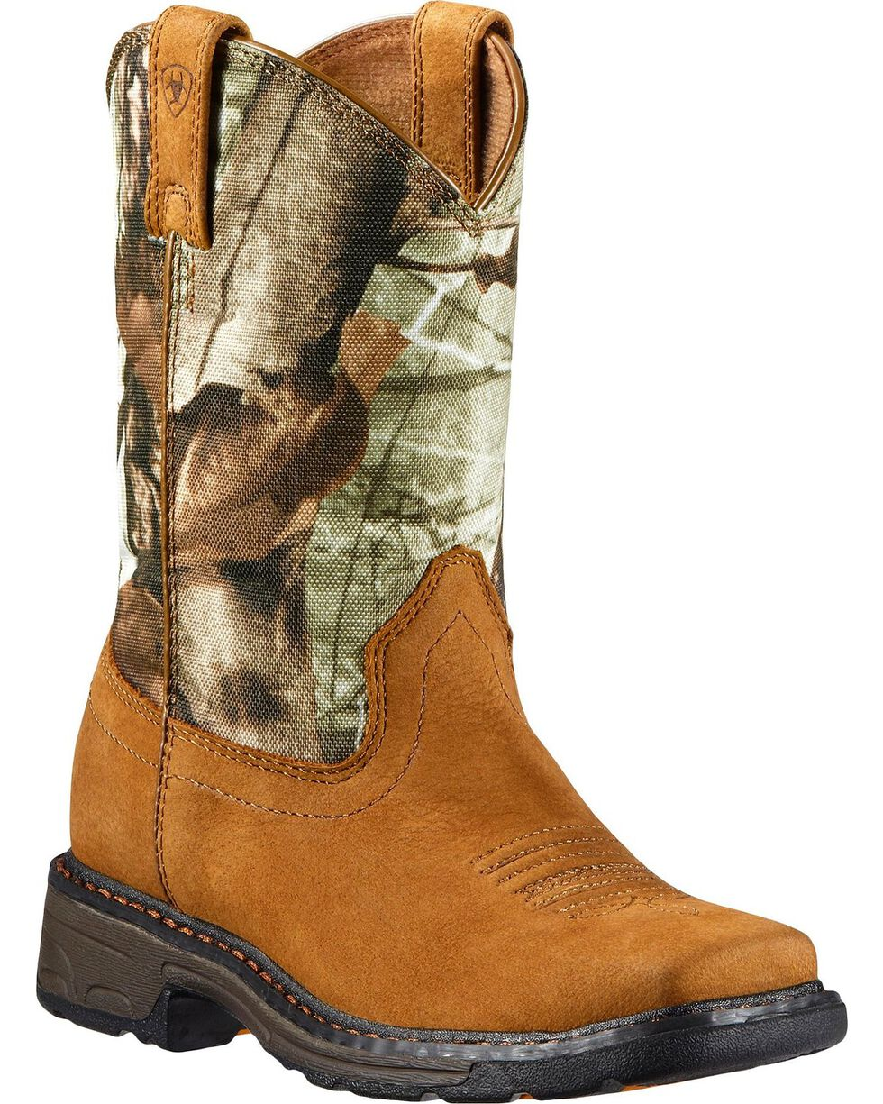 Ariat Youth Boys' WorkHog Boots - Square Toe, Bark, hi-res
