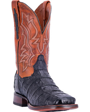Dan Post Men's Bishop Caiman Tail Cowboy Certified Cowboy Boots - Square Toe, Black, hi-res