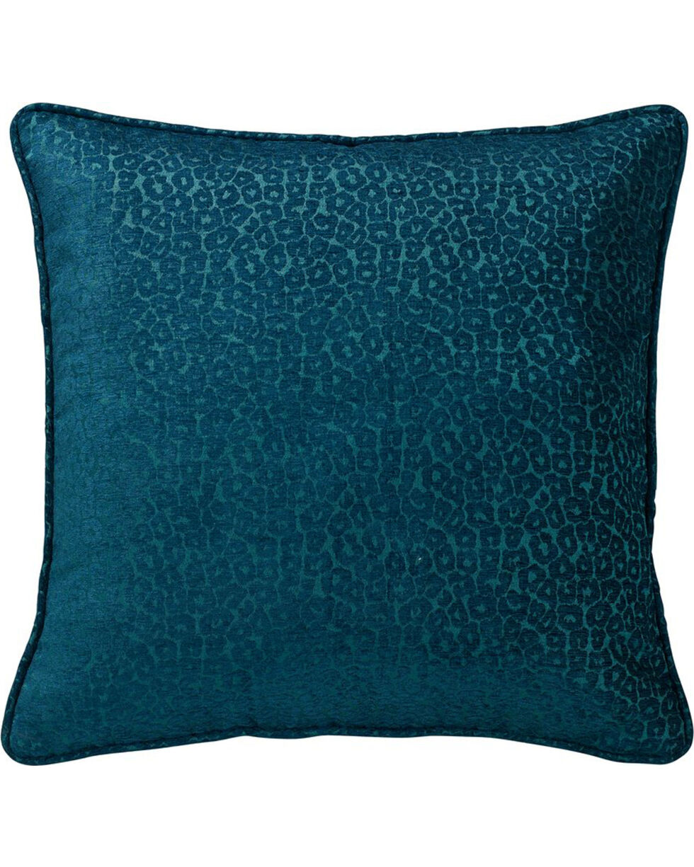 HiEnd Accents Alamosa Collection Chenille Leopard Print Euro Sham, Teal, hi-res