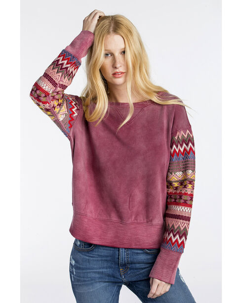 MM Vintage Women's Red Embroidered Sleeve Sweatshirt , Red, hi-res
