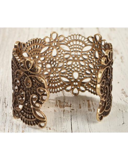 Shyanne Women's Scroll Cutout Cuff Bracelet, Gold, hi-res