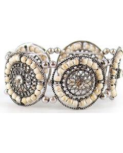 Shyanne Women's Beaded Stretch Bracelet, Silver, hi-res
