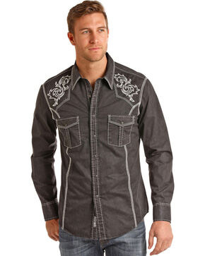 Rock & Roll Cowboy Men's Snow Wash Twill Long Sleeve Shirt, Black, hi-res