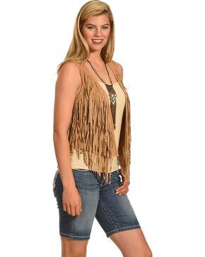 Shyanne Women's Fringe Vest , Tan, hi-res