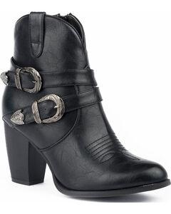 Roper Women's Maybelle Burnished Black Belted Short Western Boots - Round Toe, Black, hi-res