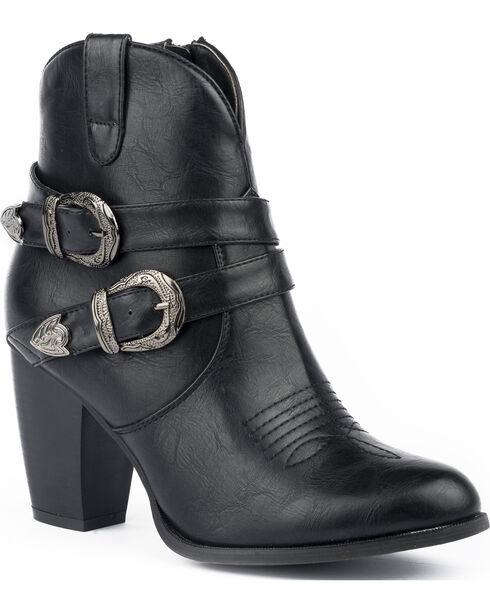 Roper Women's Maybelle Burnished Black Belted Short Western Boots - Round Toe, , hi-res