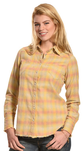 Ryan Michael Women's Vintage Ombre Plaid Shirt, Goldenrod, hi-res