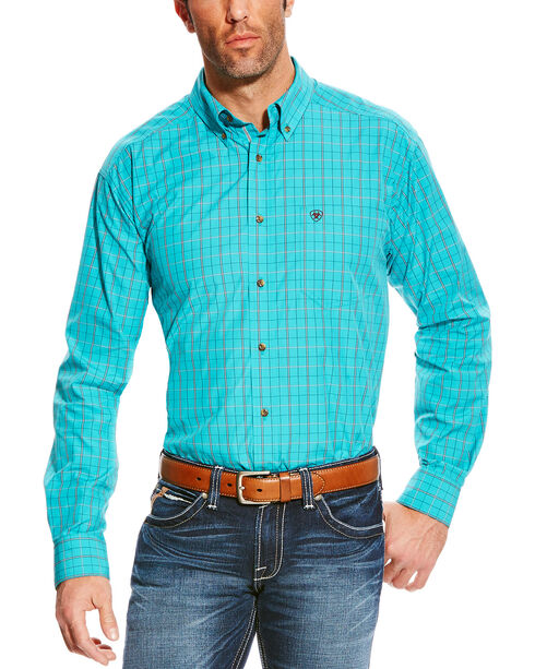 Ariat Men's Turquoise Pro Series Ashland Plaid Shirt - Tall , Turquoise, hi-res