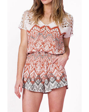 Miss Me Women's Taupe Tuscan Dreams Crochet Romper , Taupe, hi-res