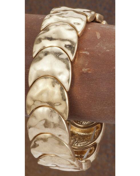 West & Co. Women's Burnished Gold Crescent Stretch Bracelet, Gold, hi-res