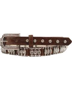 Nocona Tooled Leather Crystal Metal Bar Belt, Brown, hi-res