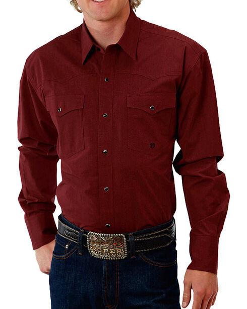 Roper Men's Burgundy Poplin Amarillo Shirt , Burgundy, hi-res