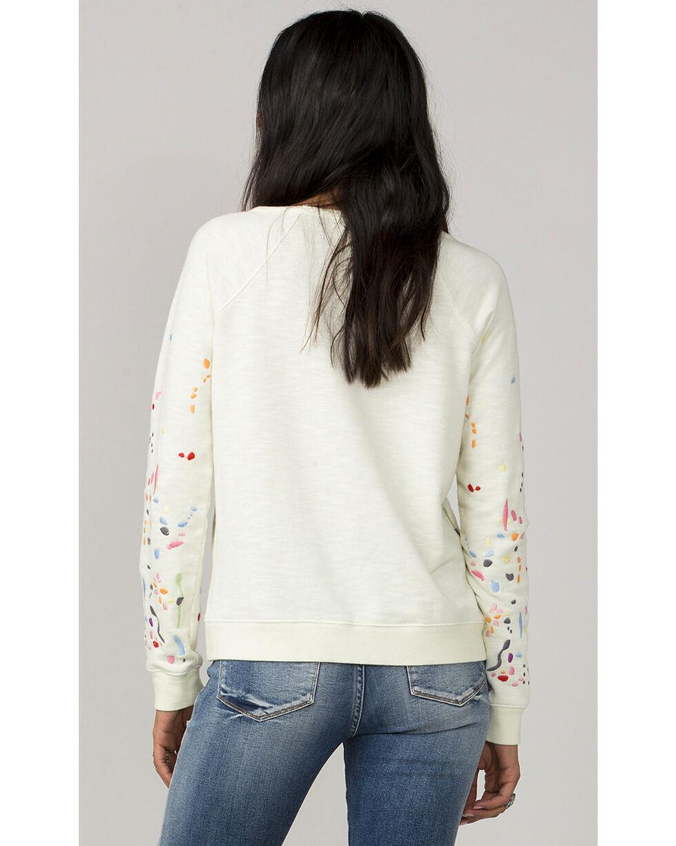 MM Vintage White Paint Splatter Long Sleeve Sweater, White, hi-res