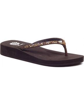 Yellow Box Women's Brown Jello Jeweled Sandals , Brown, hi-res