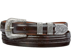 Lucchese Men's Black Cherry Goat with Hobby Stitch Leather Belt, , hi-res