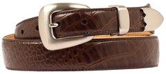 Double Barrel Gator Print Leather Belt, Brown, hi-res