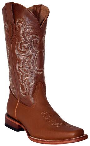 Ferrini Men's French Calf Leather Cowboy Boots - Square Toe, Cognac, hi-res