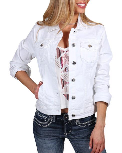 Boom Boom Jeans Women's White Vintage Denim Jacket, White, hi-res