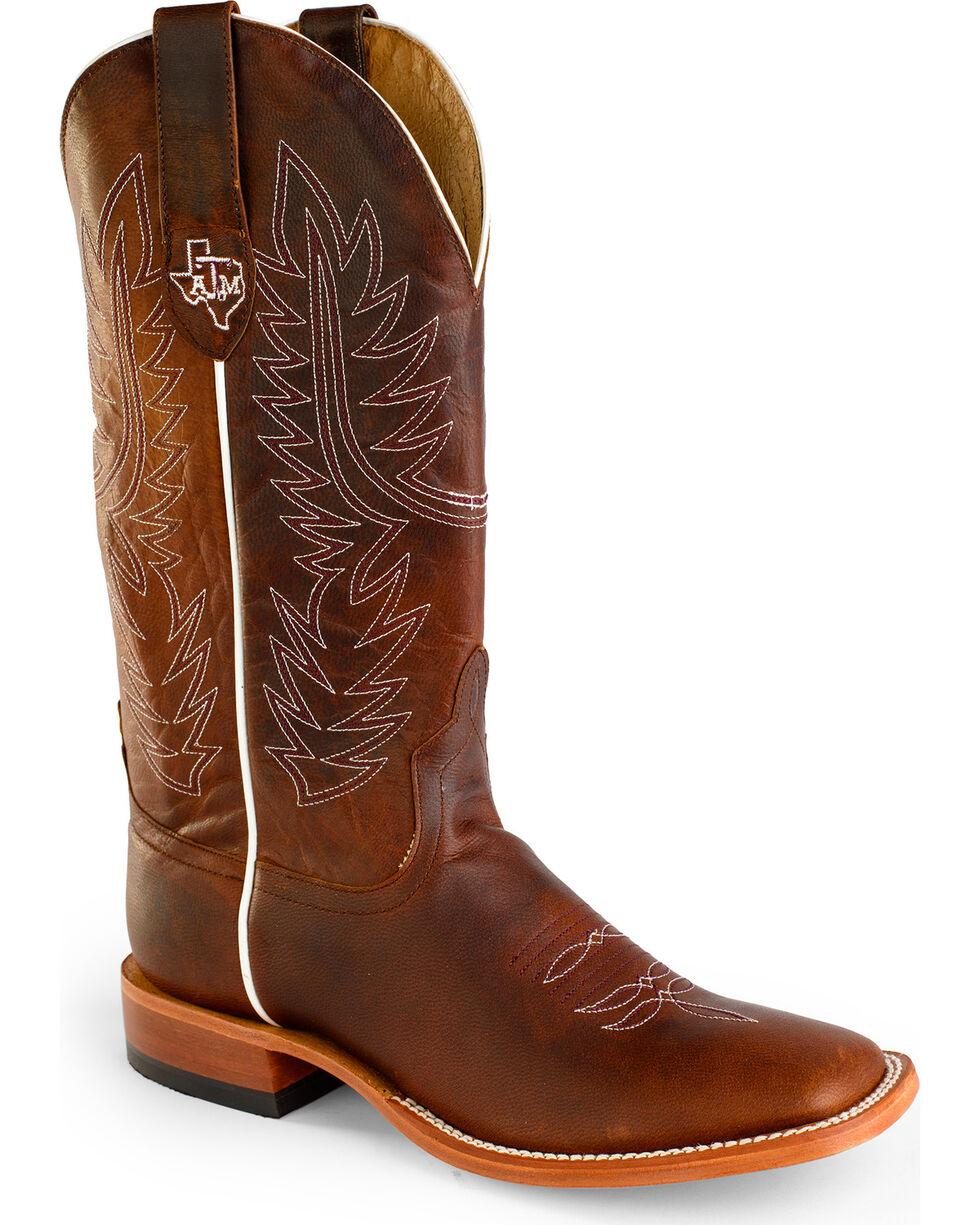 Horse Power Men's Goat Leather A&M Cowboy Boots - Square Toe , Brown, hi-res