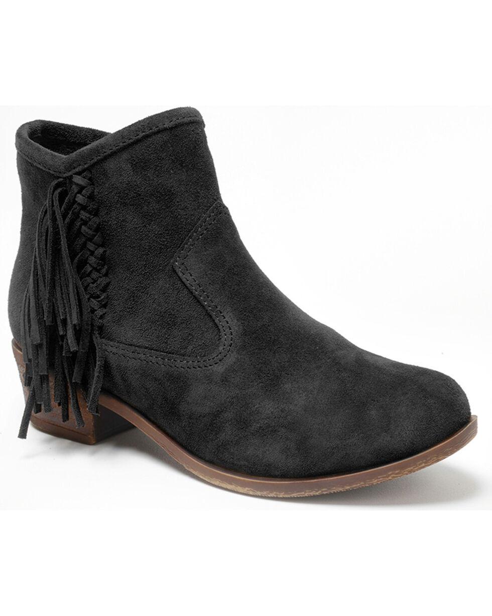 Minnetonka Women's Blake Fringe Boots - Round Toe, Black, hi-res