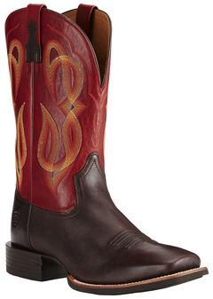 Ariat Men's Brown Quantum Brander Boots - Wide Square Toe, Brown, hi-res