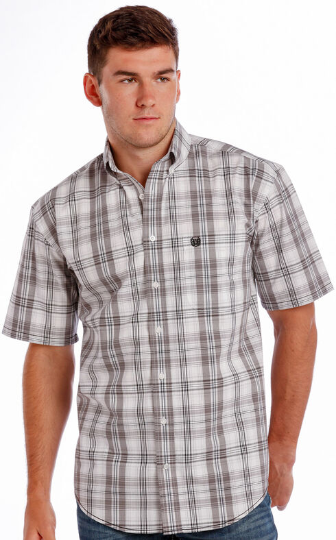 Rough Stock by Panhandle Slim Men's Grey Beezley Vintage Ombre Plaid Shirt , Miners Grey, hi-res