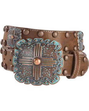 Angel Ranch Women's Copper Patina Concho Belt, Brown, hi-res