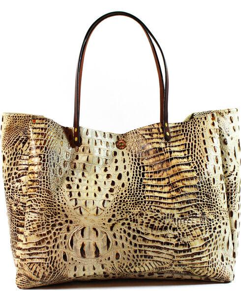 SouthLife Supply Women's Cream Croc Medium Bucket Bag, Cream, hi-res