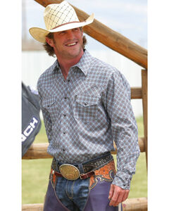Cinch Men's Navy Modern Fit Long Sleeve Shirt , Navy, hi-res