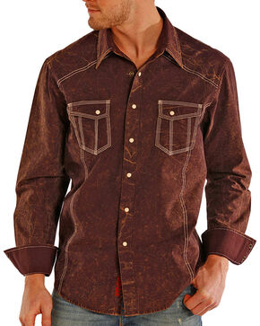 Rock & Roll Cowboy Men's Solid Double Stitched Long Sleeve Shirt, Rust Copper, hi-res