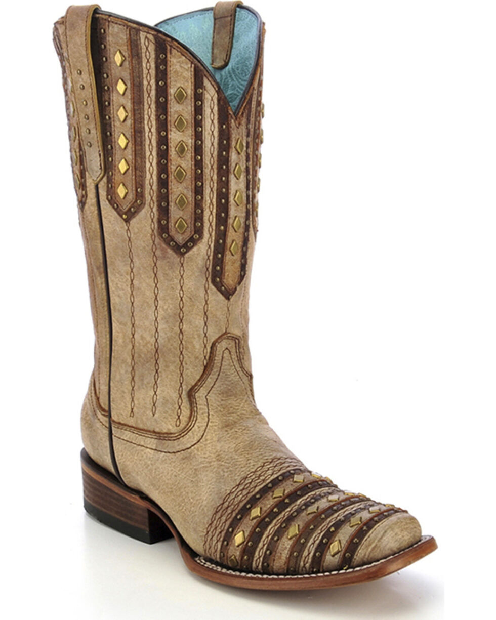 Corral Women's Studded Patch Cowgirl Boots - Square Toe, Tan, hi-res