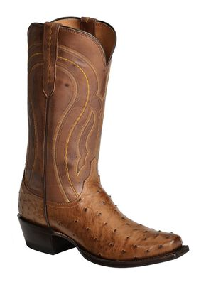 Lucchese 1883 Full Quill Ostrich Western Boots - Square Toe, Tan Burnish, hi-res