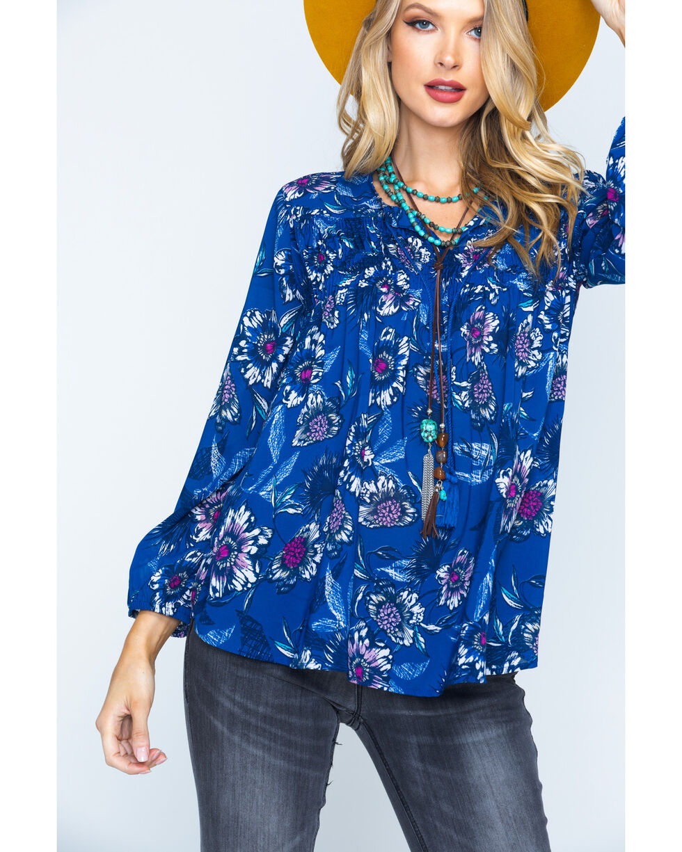 New Direction Sport Women's Blue Paisley Print Top , Blue, hi-res