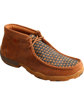 Twisted X Men's Slip On Basketweave Driving Mocs - Moc Toe, Brown, hi-res